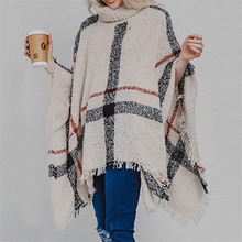 Casual Striped Knitted Sweater Cloak Tassel Turtleneck Pullover Sleeveless Women Poncho And Capes Warm Knit Outwear Cover