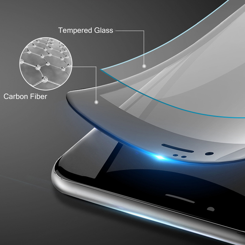 ON SALE 3D Curved Soft TPE Carbon Fiber Edge Premium Glass Film For <font><b>Iphone</b></font> 6s 7 8 X Plus Full Cover Screen Protector Guard Film