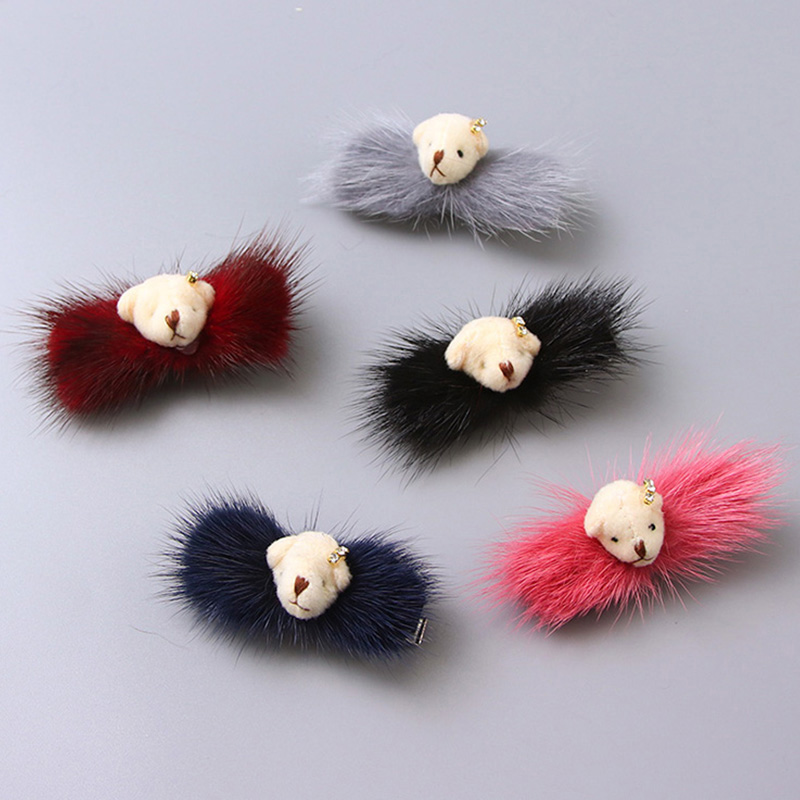 New Fashion Winter Cute Real Mink Hair Bear Crystal Hair Clip For Women Hair Ornament Barrette Headband Hair Accessories Hairpin halloween party zombie skull skeleton hand bone claw hairpin punk hair clip for women girl hair accessories headwear 1 pcs