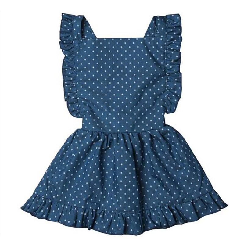 Zomer Meisjes Bruiloft Jurk Denim Lederen Jurk Baby Dot Jurk Kinderkleding Voor 1-6 T