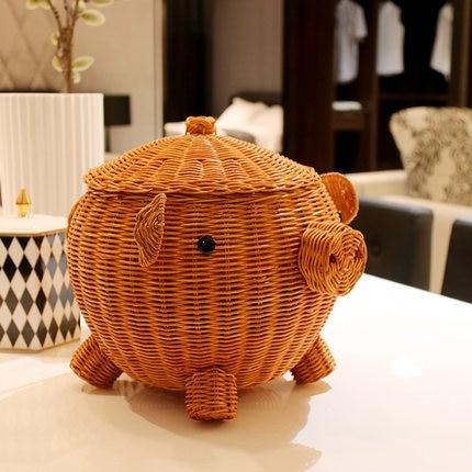 Kancelářský stůl kosmetika úložné boxy papírnictví velké kreativní ratanový roztomilý koš dřevěný stůl