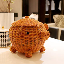 Office Desk Cosmetics Storage Boxes Stationery Large Creative Rattan Cute Basket Wooden