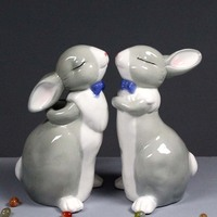 High Temperature Ceramic White Easter Rabbit Cartoon Decoration Display Crafts Animal Decorations Rustic Home Decor