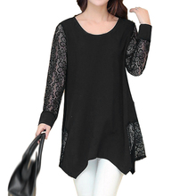2017 NEW Women O-neck Patchwork Lace Blouse Long Sleeve Shirts Tops