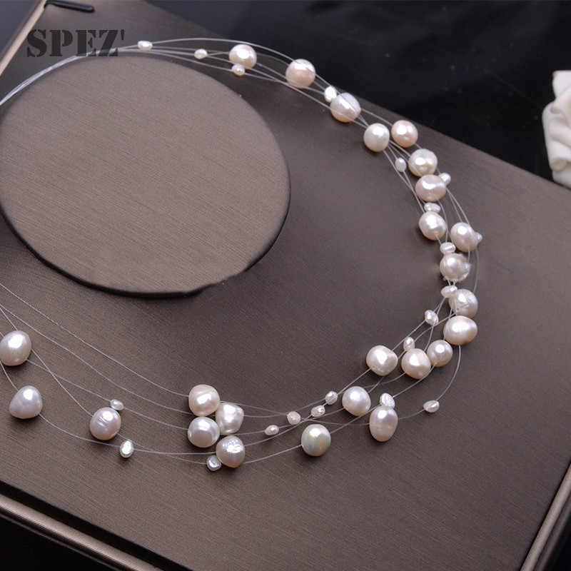 Nước Ngọt Tự Nhiên Ngọc Trai Vòng Đeo Cổ Cho Nữ Baroque Ngọc Trai 4-8 Mm 5 Hàng Bohemia Đồ Trang Sức Thời Trang Spez
