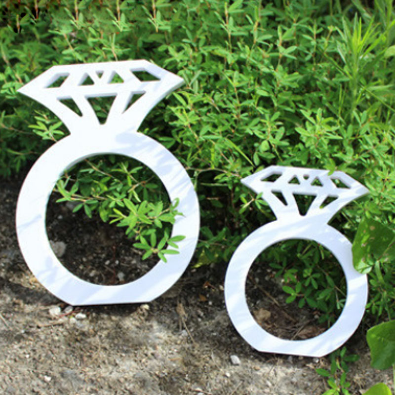 Wood Diamond Ring Wooden Multi-function Photo Booth Props Wedding Decoration Wood Birde To Be Party Supplies