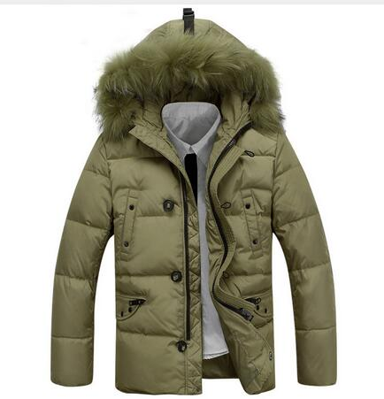 Winter Jacket Men Coats Thick Warm Casual Fur Collar Down Coat Winter Windproof Hooded Outwear Men