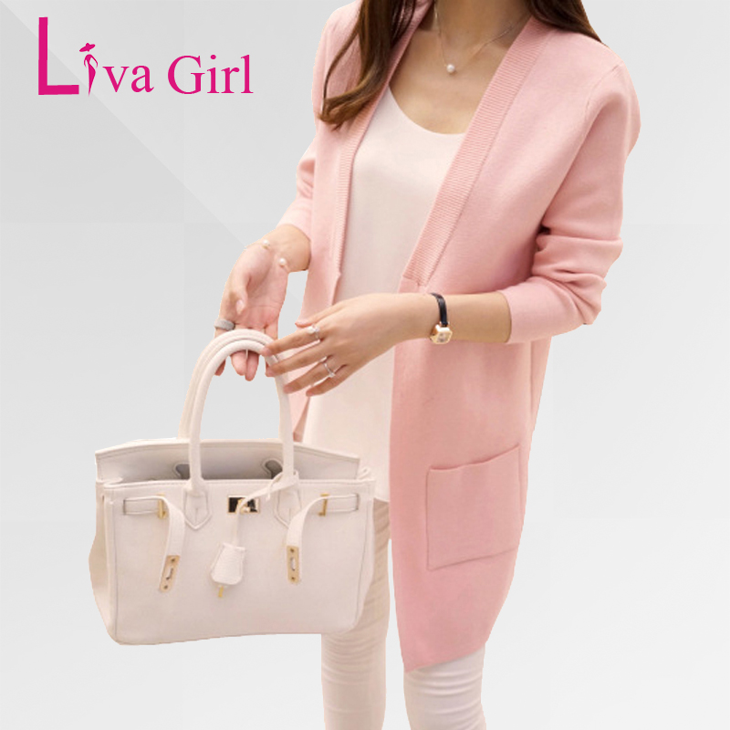 Liva Girl Long Cardigan Female 2017 Autumn Winter Women Long Sleeve Cardigan Sweater Knitted Cardigans For