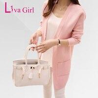 Liva Girl Long Cardigan Female 2017 Autumn Winter Women Long Sleeve Cardigan Sweater Knitted Cardigans For