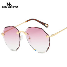 MOLNIYA 2019 NEW Sunglasses For Women Pilot Rimless Diamond Cutting Ocean Lens Brand Designer Fashion Shades Sun Glasses Men
