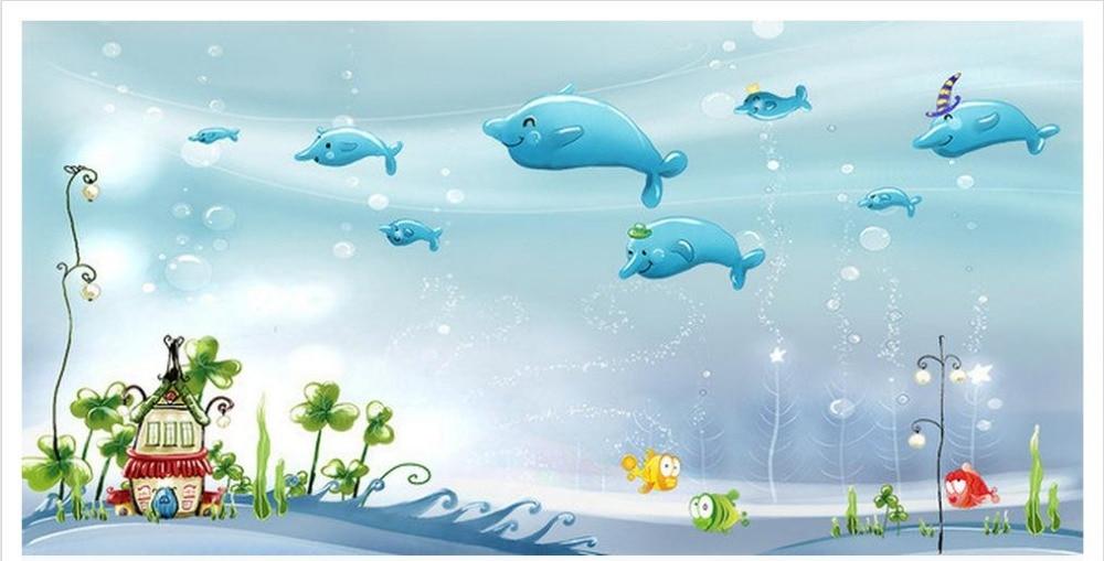 Customzed 3d wallpaper 3d kids wallpaper dolphin cartoon for 3d wallpaper children