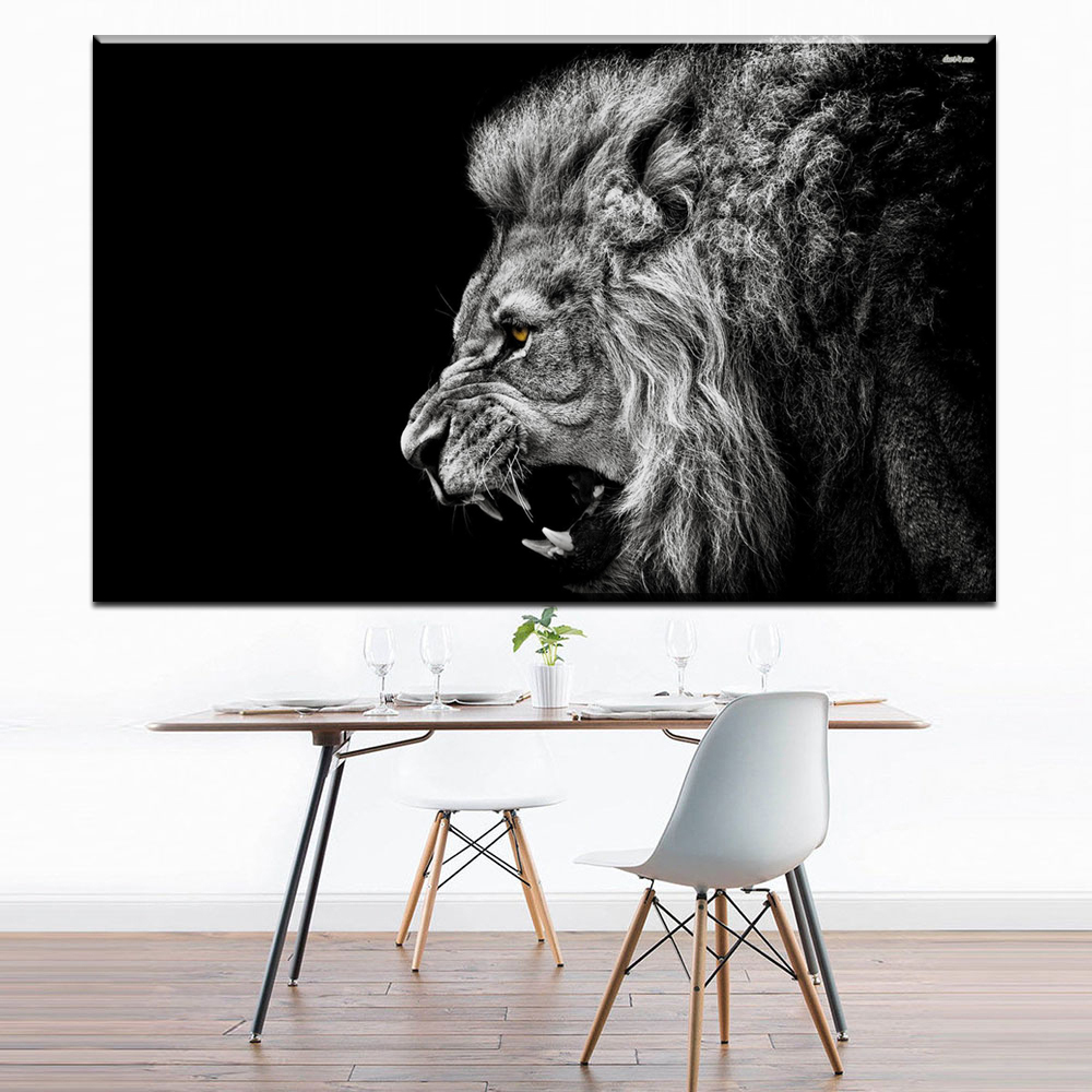 Black And White Paintings For Bedroom Bedroom Sets Black Modern Bedroom Black Bedroom Furniture Sets Pictures: ZZ1672 Black White Canvas Art Roaring Lion Canvas Pictures