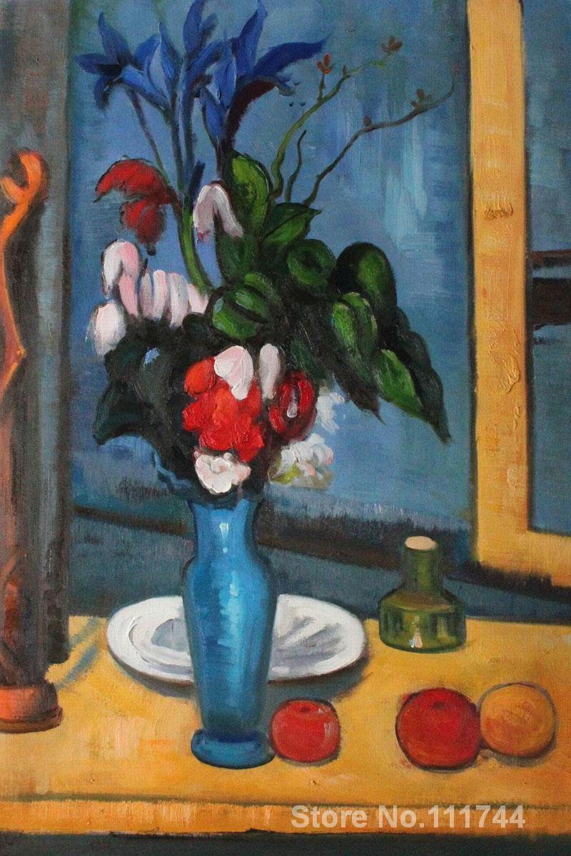 Oil Painting Still Life Flower Le Vase Bleu By Paul