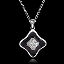 High Quality retail cheap Woman Silver Necklace Jewelry Gem Zircon And Paint N607