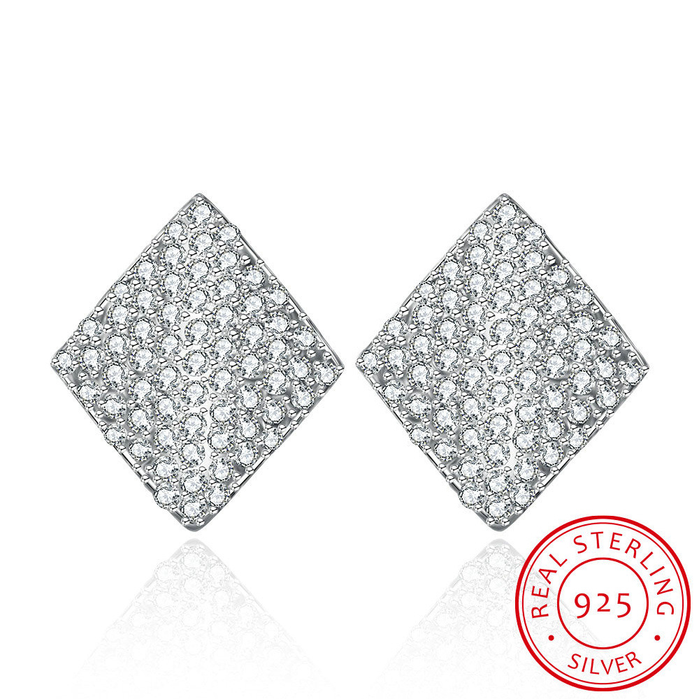 Jemmin Luxury 925 Sterling Silver Earrings Square Shape Full Clear Diamond Wedding Stud Earring For Women Brincos Bijoux chic artificial ruby square shape hollow out stud earrings for women