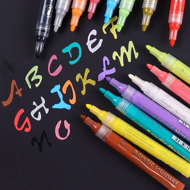 1pcs Acrylic Permanent Paint Marker Pen For DIY Ceramic Rock Glass Porcelain Mug Wood Fabric Canvas Painting 5 Colors