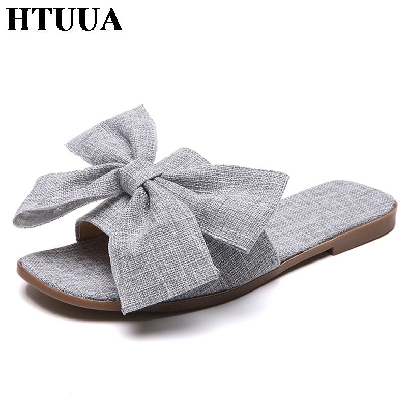 Shoes & Handbags Slippers Womens Summer Solid Bow Tie Flip
