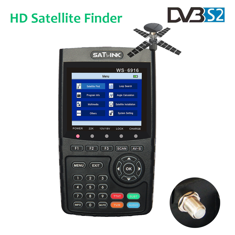 3.5 inch TFT LCD Satlink WS-6916 Satfinder HD DVB-S2 FTA C&KU Band Digital Satellite Finder MPEG-4 Satellite Finder Meter WS6916 satlink ws 6979se satellite finder meter 4 3 inch display screen dvb s s2 dvb t2 mpeg4 hd combo ws6979 with big black bag