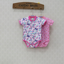 2018 Little Q Newborn Summer Bodysuits Baby Short Sleeve O Neck Clothes 2 pcs/lot Button Suits Pure Cotton Clothing