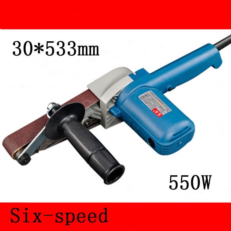 Pásová bruska s proměnlivou rychlostí 30 * 533 mm Pásová bruska 550w Vysoce výkonná dřevoobráběcí pásová bruska 220 - 240 V bruska na brusný papír
