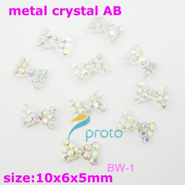 Freeshipping-10pcs 3D Rhinestone Metal Bow Crystal AB Color Acrylic Rhinestone Nail Art Decoration SKU:D0451