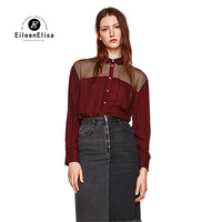 Eileen Elisa Red Black Plaid Shirt Women 2018 Sexy See Through Blouses Fashion Button Shirts Tops