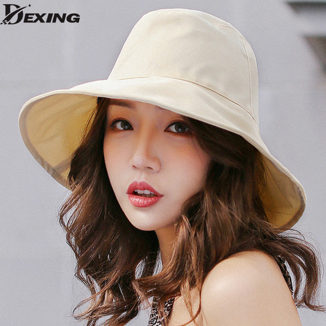 d3142f32bc8 Women Summer Sun Hat wide Brim chapeu feminino praia chapeau femme flap  cover Cap Cotton UV 50+ chin cord fashion