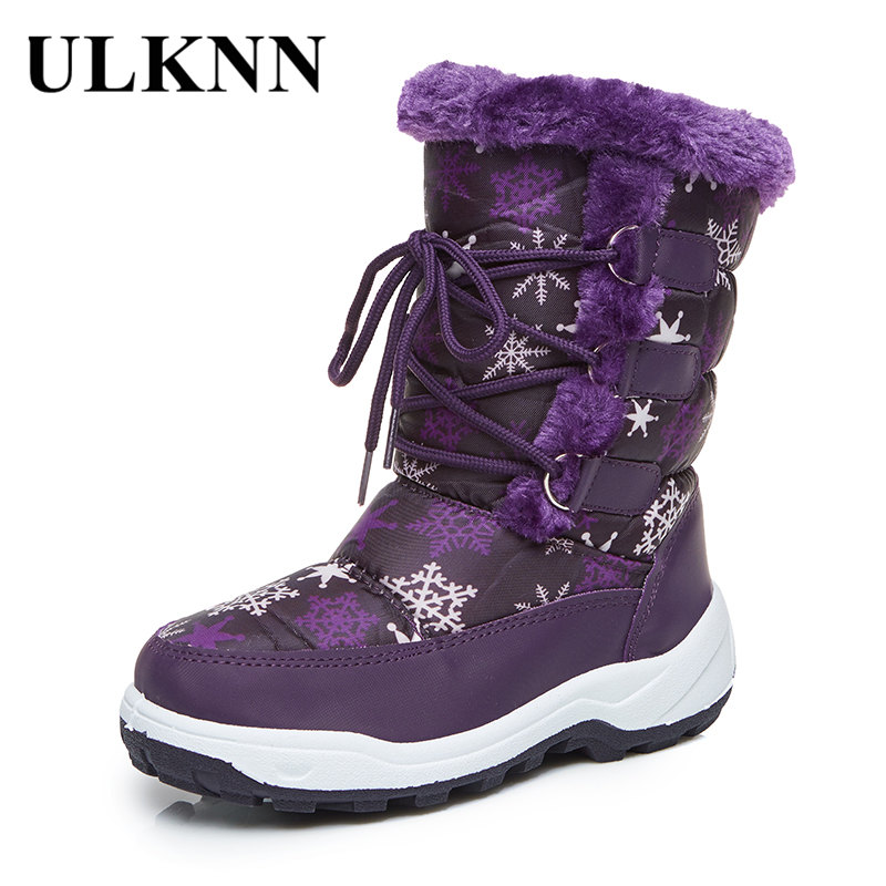 ULKNN Warm Baby Boots Children Girls Boys Waterproof Mid-Calf Snow Boots Kids Winter Shoes Flat with Plush botas meisjes laarzen snow toddler fur warm boots soft mid calf kids booties waterproof baby winter pink shoes little girls boys infant boot kt902