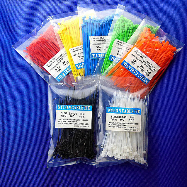 700pcs/lot  3X100MM Self-Locking  Nylon Wire Cable Zip Ties.cable ties (seven color mixed,you also can choose as your like)