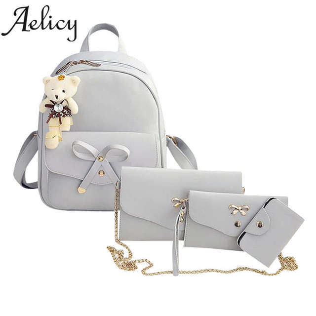 Aelicy 4 Sets Luxury Backpack Women Shoulder Bags Four Pieces Tote Bag  Crossbody Bags Women Famous Brands bolsa feminina mochila 91bcf6bf4eb98