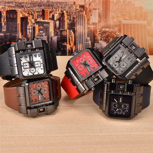 Image 5 - Oulm Mens Wrist Watches Luxury Design Quartz Watch Men Square Dial PU Leather Strap Male Military Antique Clock erkek saat