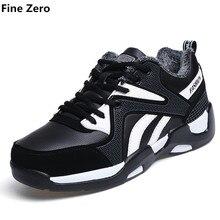 Fine Zero Unisex Winter Fur Plush Warm High Top Shoe Couple Autumn Flat boots For Men Zapatillas Hombre Male winter casual shoes