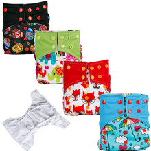 1pc Reusable Waterproof Baby Cloth Diaper Nappy suede cloth Inner Printed PUL Double Gussets Color Tab Wholesale Selling