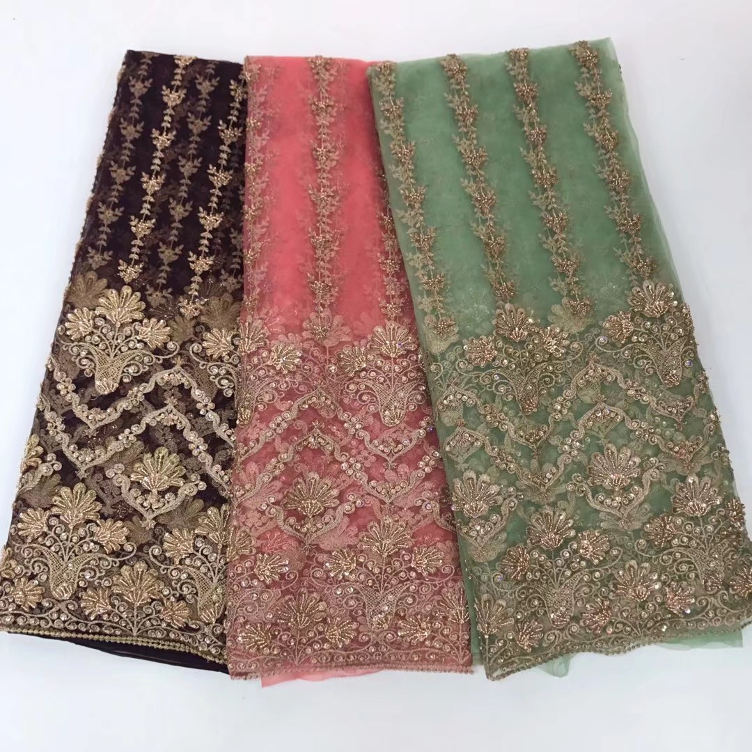 BEAUTIFICA Big Heavy Bridal Tulle Lace 2018 African French lace Fabric With Lots Of Beads Stones Lace fabrics 5yards/lot JYN293