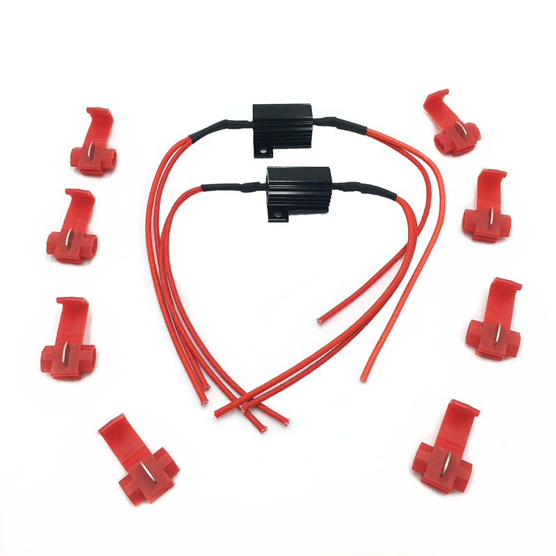 2/4 Pcs 25W Black Load Resistors LED Flash Rate Turn Signals Light Indicator Controllers Brake Motorcycle With 8 Quick Wire Clip
