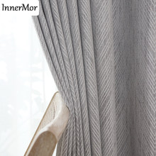Innermor Jacquard Geometric Home Decor Curtains For Living room soft Stripe Blackout Curtain for bedroom and Kitchen Customized(China)