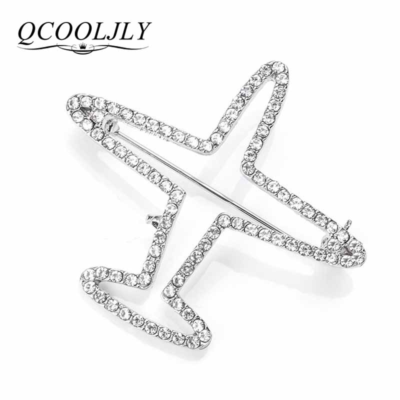 QCOOLJLY Airplane Brooch Pins Silver Color Crystal Plane Luxury Brand Brooches For Women Men Costumes Aircraft Brooch Scarf Pins