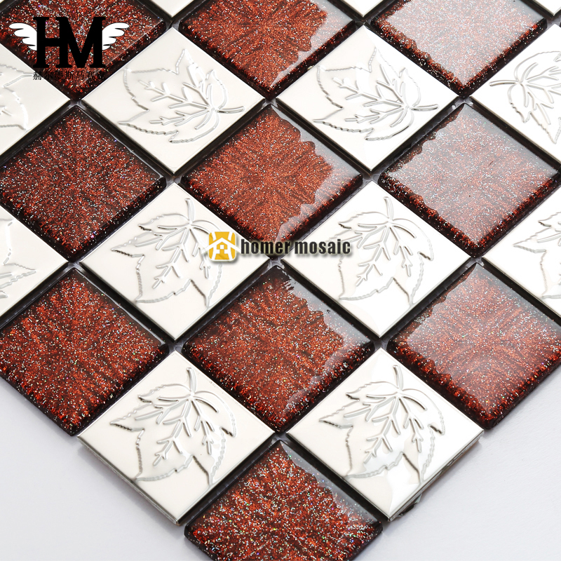 brown crystal glass mixed 3D carved flower stainless steel