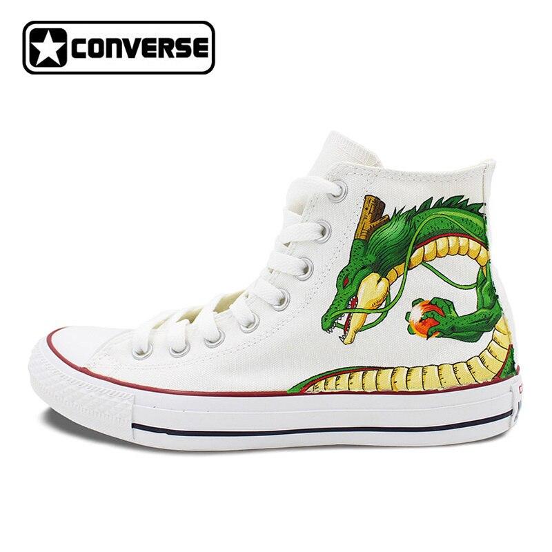 5cb5dffa7dd7 ᐂБелые Converse Зажимы Taylor Dragon Ball Аниме Дизайн ручная ...