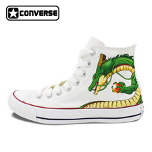 Белые Converse Chuck Taylor Dragon Ball Аниме Дизайн ручной росписью обувь мужские и женские высокие кроссовки Для мужчин Для женщин Подарки на день рождения