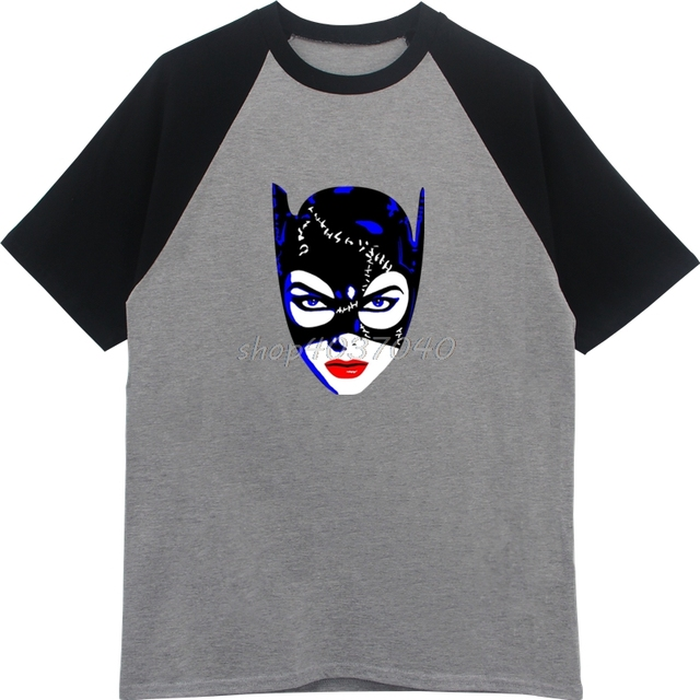 Summer Casual Print Men Cotton Raglan Sleeve Shirts Michelle Pfeiffer Catwoman T Shirt Brand