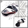 (1) Black White Union Jack UK Flag Style Real Leather Key Fob Cover Holder For 2008-up MINI Cooper R55 R56 R57 R58 R59 R60 R61