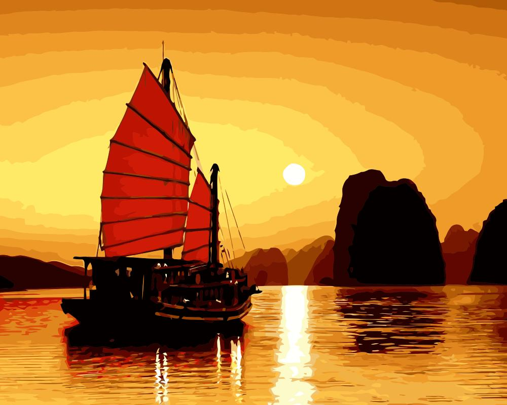 MaHuaf j662 Golden Vietnam coloring by numbers wall art pictures for ...