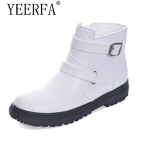 YIERFA Buckle Strap With Low Heel Women Snow Boots Keeping Warm PU Leather Fashion Woman S