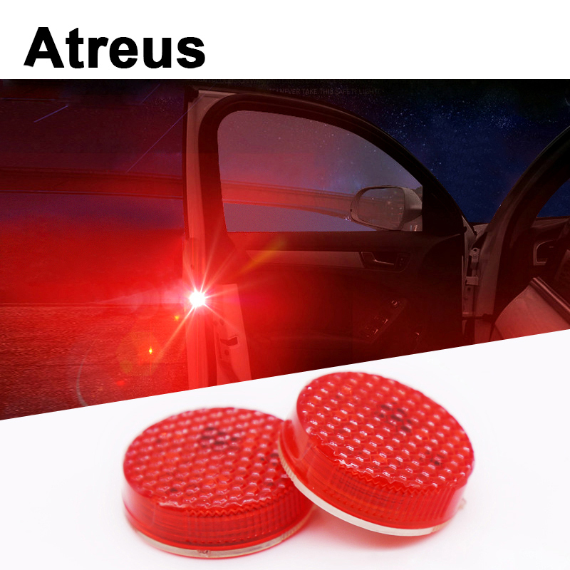 Atreus Car Door warning signal crash strobe lights LED sticker For Mercedes benz W204 W203 W211 AMG Mini cooper Skoda octavia a5