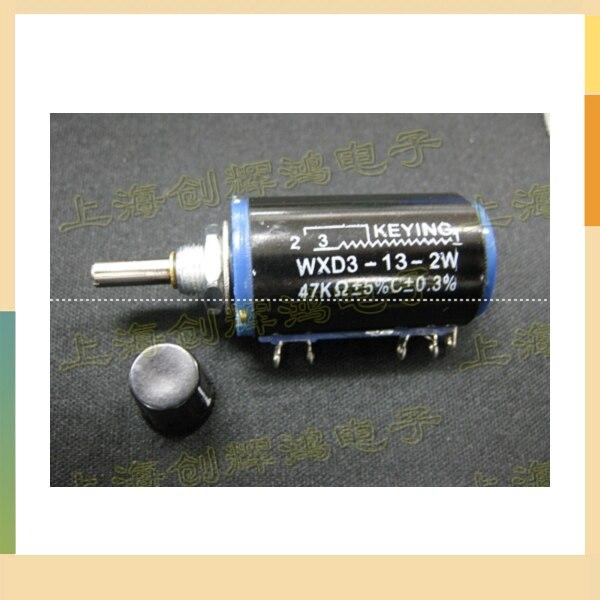 Precision multi-turn wirewound potentiometers sliding <font><b>rheostat</b></font> WXD3-13-2W 4K7 47K 100K matching <font><b>knob</b></font>
