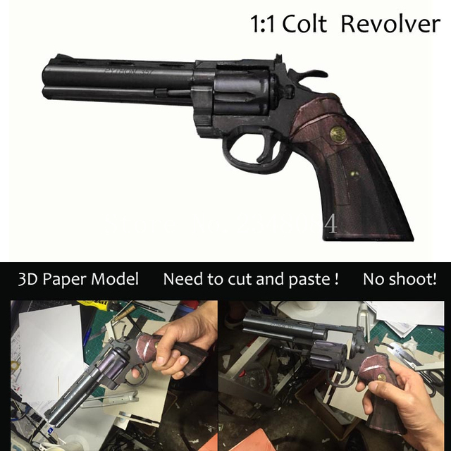 New Arrival Simple Edition 3d Paper Model 1 1colt Revolving Pistol