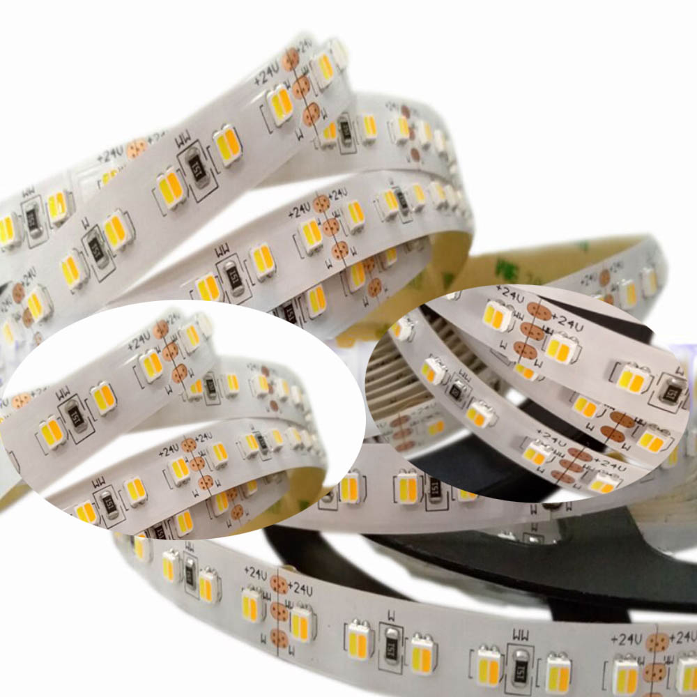 DC24V CCT 2in1 Led Strip Light 5050 3527 120leds/M CW/WW Two Color Temperature Adjustable led strip Dimmable Tape 5M DC24V CCT 2in1 Led Strip Light 5050 3527 120leds/M CW/WW Two Color Temperature Adjustable led strip Dimmable Tape 5M