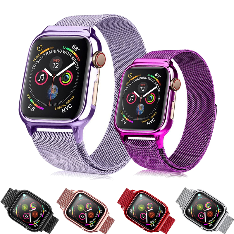 Milanese Loop For Apple Watch 4 Band 44mm 40mm bracelet with Metal Protective Case watchband for iWatch  strap Series 4 correaMilanese Loop For Apple Watch 4 Band 44mm 40mm bracelet with Metal Protective Case watchband for iWatch  strap Series 4 correa