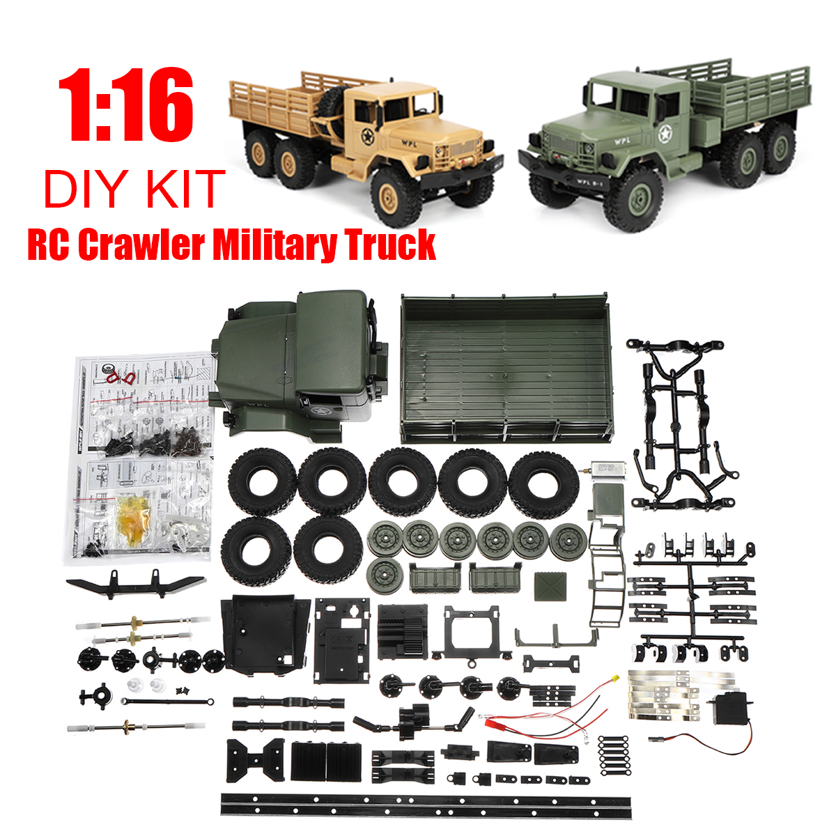 DIY Kit B16 1:16 2.4G 6 Wheels RC Crawler Military Truck Off-Road Car Toy Yellow/Green Drive Lights Excellent Climbing Ability